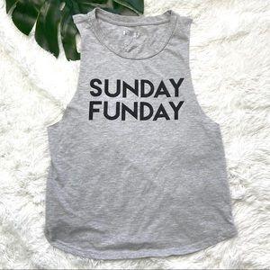 Gray Sunday Funday Muscle Tank | Medium